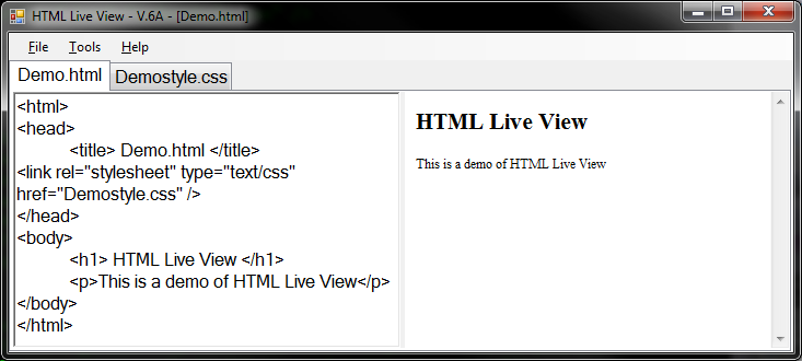 Picture of HTML Live View